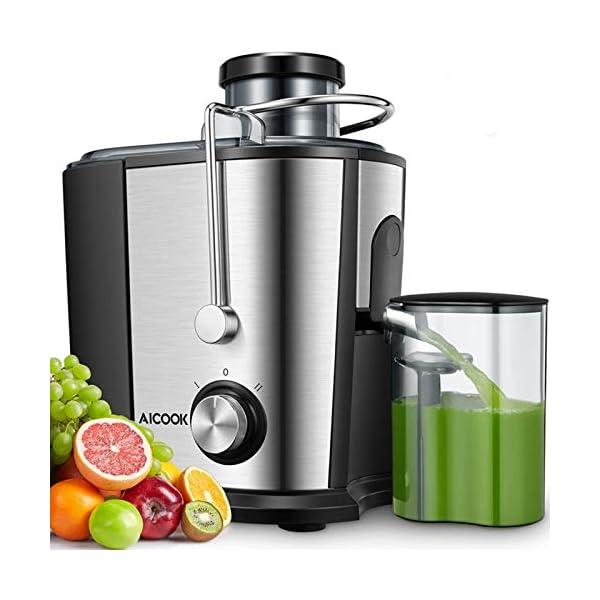 Centrifuga Frutta e Verdura, Aicook 600W Estrattore di Succo a Freddo a 65MM Bocca, Acciaio Inossidabile a Usi… 1