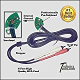 Technics 1200 1210 Gold Tip RCA Phono Cables With Internal Ground PCB (RCA's RCAs)