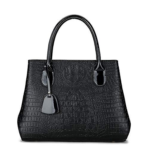 LJ Crocodile Pattern Solid Color PU Leather Handbag European & American Style Shoulder Bag Messenger Bag Zipper Crossbody Bag Wild Joker (Color : Black) (Crocodile Solid Pattern)
