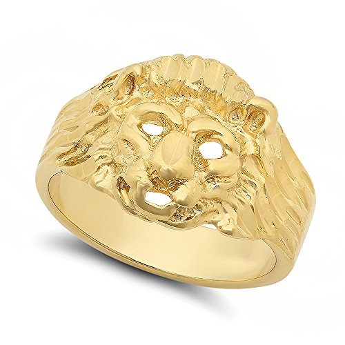 Large 19mm 14k Gold Plated Three-Dimensional Lion Head w/Mane Ring, Size 11 + Jewelry Polishing (Mane Bling)