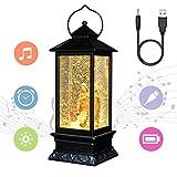 Eldnacele Christian Snow Globe Lantern Lamp Lighted Battery Operated & USB Lined Lighted Glitter Water Lantern Lamp Christmas Navitity Decoration Tornado Light with Timer (Baptism)