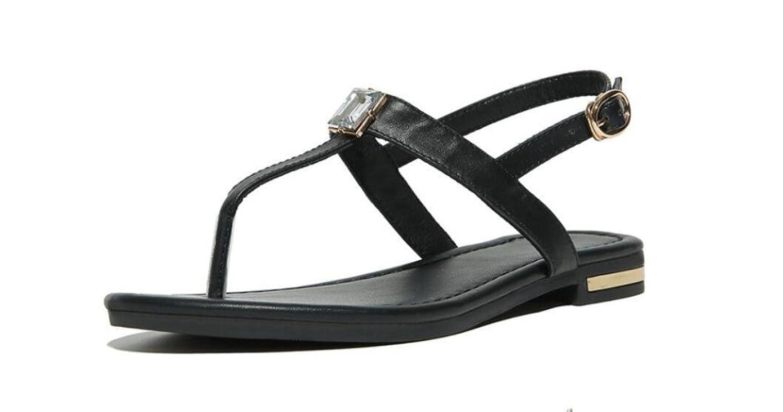 SHFANG shoes Damen Sandalen Sommer Leder Freizeit Bequeme Flache Boden Studenten Shopping Strand Schwarz Weiszlig;...