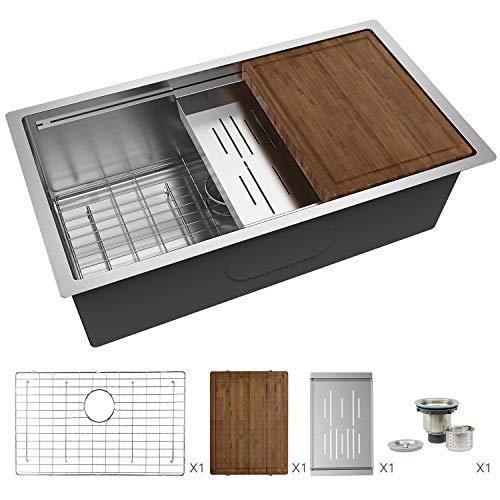 TORVA 30-Inch Workstation 16 Gauge Undermount Stainless Steel Single Bowl Kitchen Sink 30'' x 19'' x 10''