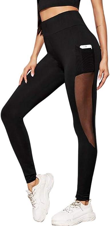 cinnamou Pantalones Mujer, Casual Pantalones De Costura En Perspectiva Skinny Pantalon Deporte Cintura Alta Leggins Mujer Fitness Bolsillo PantalóN Chandal Leggings: Amazon.es: Ropa y accesorios