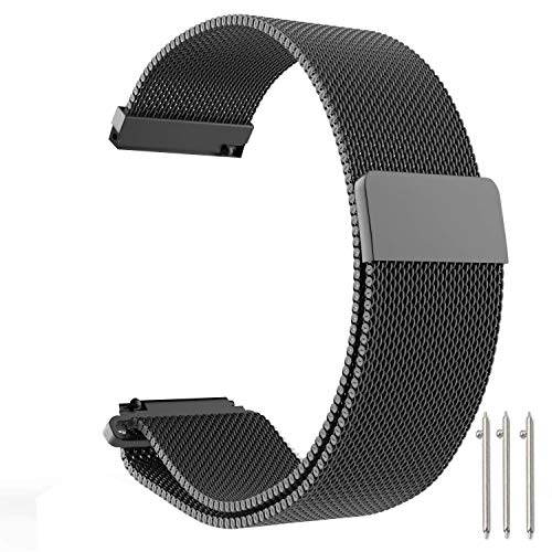 CLSY Compatible with Fossil Watch Strap, 18mm Stainless Steel Loop Mesh Metal Bracelet Strap Replacement for Fossil Gen 4 Q Venture HR/Gen 3 Q Venture Smartwatch (18mm,Black)