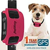 AngelaKerry Wireless Dog Fence System with GPS - Outdoor Pet Containment System Rechargeable Waterproof Collar 850YD Remote for 15lbs-120lbs Dogs (Rose Red - 1pc GPS Receiver by 1 Dog)