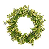 FAVOWREATH Vitality Series FAVO-W120 Handmade 15 inch Green Daisy Hello Letter,Grapevine Wreath for Summer/Fall Festival Front Door/Wall/Fireplace Every Day Nearly Natural Home Hanger Decor