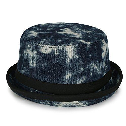 ililily Vintage Bleached Denim Pork Pie Rolled Trimmed Brim Flat Top Bucket Hat, Indigo Blue - Bad Pie Pork Breaking Hat