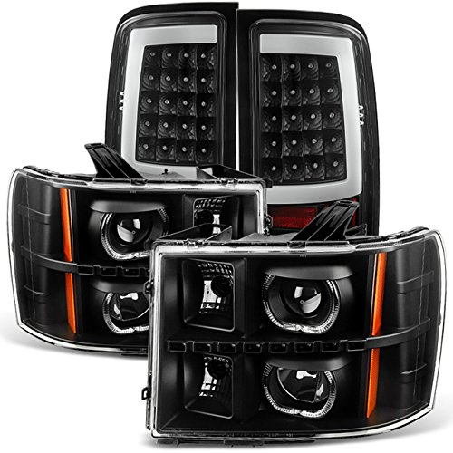 For [Dual LED Halo Ring] 07-13 Sierra Pickup Truck Black Projector Headlights + LED Tail light Set -