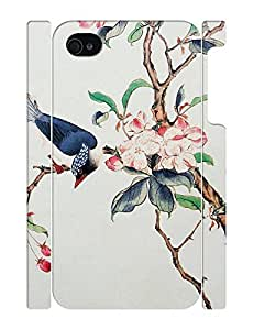 Flowers and Birds Design Purple Hard Plastic Back Case Cover for Iphone 4 4S