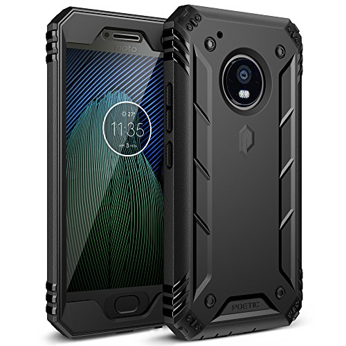 Poetic Moto G5 Plus Rugged Case, Revolution Full-Body with Hybrid Heavy Duty Protection [Built-in Screen Protector] for Motorola Moto G5 Plus (2017) Black