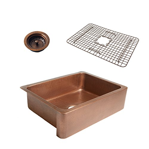 Sinkology SK302-30AC-WG-B Courbet Copper Kitchen Sink With Grid And Strainer Drain