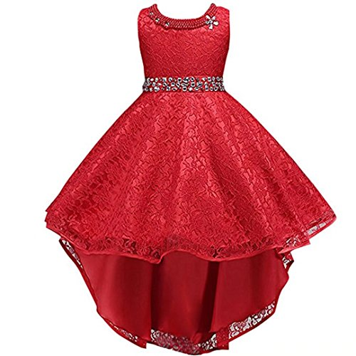 ZaH Girls Vintage Overlay Lace Beaded Rhinestone Bridesmaid Wedding Tulle Dresses Party Maxi High Low Gown Fancy Dance Tutus (Red,5-6Y) Old Vintage Rhinestone