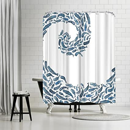 Americanflat Whale Wave Shower Curtain By Elena Oneill 74quot X 71quot