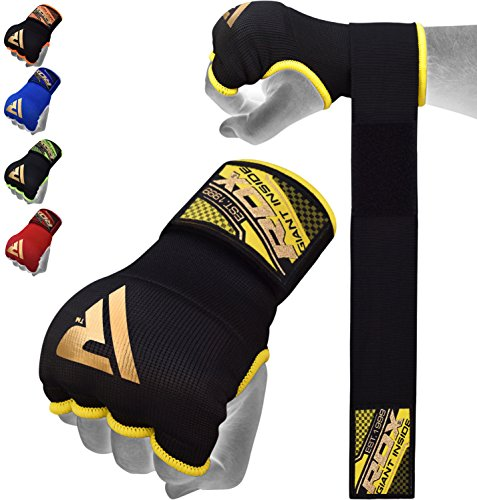 Inner Training - RDX Training Boxing Inner Gloves Hand Wraps MMA Fist Protector Bandages Mitts, Medium, Black
