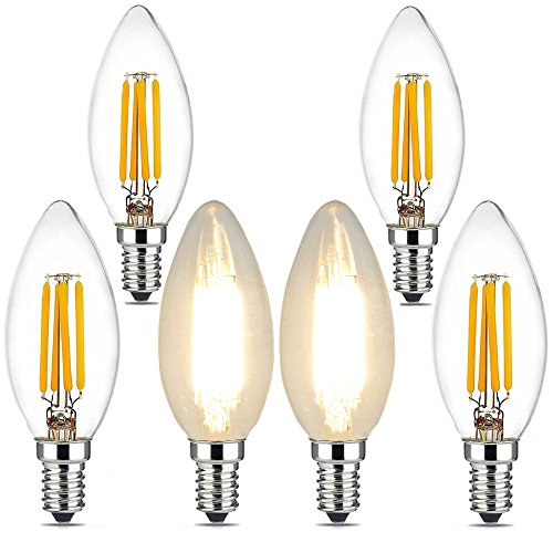 (4W Candelabra Led Light Bulbs, BRIMAX E12 Base Ceiling Fan Light Bulb 40W Equivalent, Chandelier C35 B10/B11 Led Edison Filament Candle Bulbs, 2700K Warm White, 400LM, Torpedo Shape, 6Pack)