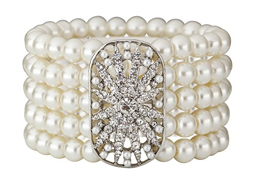 Art Deco 20s 30s Flapper Gatsby Acessories Jewelry Great Gatsby Inspired Bridal Pearl Elastic Bracelet Bangle(Silver) (Mother Bracelet Of Elastic Pearl)