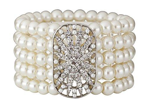 Art Deco 20s 30s Flapper Acessories Gatsby Inspired Bridal Wedding Bridal Elastic Pearl Bracelet Bangle Costume Jewelry Gold (Costume Bracelet)