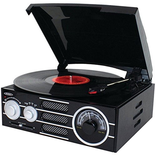 JENSEN JTA300 3-Speed Stereo Turntable with AM/FM Stereo Rad