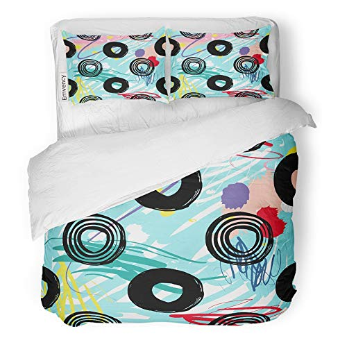 Brown Microfiber Bagel Bed - Emvency 3 Piece Duvet Cover Set Brushed Microfiber Fabric Breathable Modern Kids Dot and Line Circle Graphic Cute Minimalistic Scandinavian Cartoon Bedding Set with 2 Pillow Covers Full/Queen Size