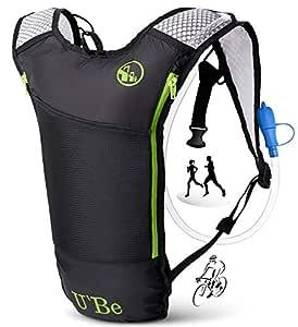 U`Be Hydration Pack Water Backpack - Kids Women Men Camelback - Hiking Biking Running Bag with 2L Bladder (Green Runner)