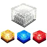 FuriGer LED Brick Lights, Solar Landscape Light Colorful Outdoor Ice Cube Lights Ground Lighting, 2.8 Inch Waterproof Pathway and Garden Lights -RGB