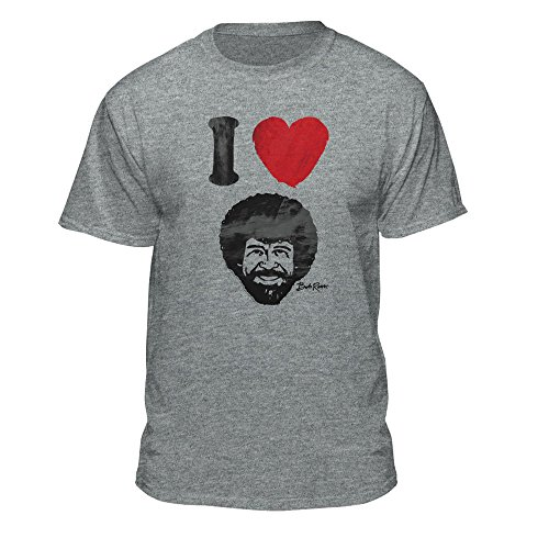 Bob Ross Graphic T-Shirt for Men and Women - I Love Bob Ross - Short Sleeve, Athletic Heather (Small, Grey)