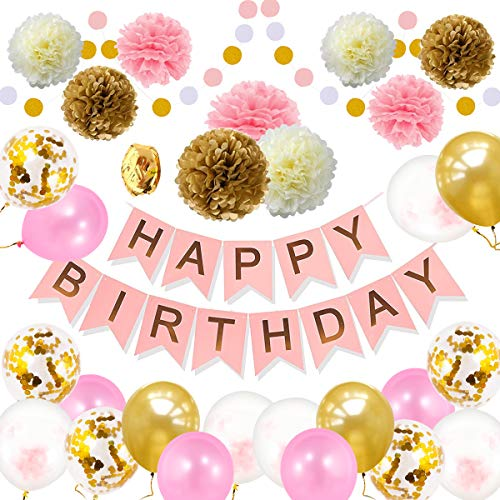Lillypet Pink Gold Birthday Party Decorations Party Supplies First 1st Birthday Girl Decorations Kit Birthday Party Decortions Banner Pom Pom Garland Balloons Party Supplies -