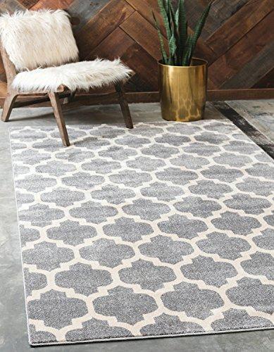 Unique Loom Trellis Collection Moroccan Lattice Dark Gray Area Rug (5' 0 x 8' 0) (Gray Trellis Carpet)