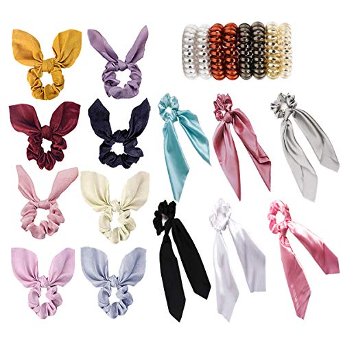 22 PCS Hair Scrunchies Satin Silk Elastic Hair Bands Hair Bow Scarf Ribbon Spiral Hair Ties Ropes Ponytail Holder Scrunchy Ties Accessories for Women Girls Solid Colors