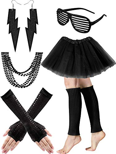 Tatuo Women's 80s Costume Accessories Set, Adult Tutu Skirt, Leg Warmers, Fishnet Gloves, Earrings Necklace Shutter Glass (Black)]()