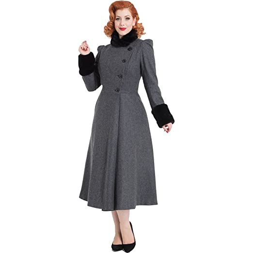 Vintage Coats & Jackets | Retro Coats and Jackets Voodoo Vixen Womens Violet Fur Trim Dress Coat Grey $146.99 AT vintagedancer.com
