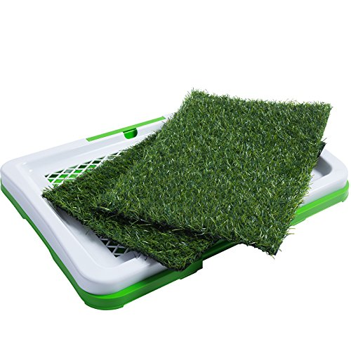 Puppy Training Mat (OxGord Puppy Pad Holder Training Indoor Pee Potty Trainer Litter Box (Includes 2) Synthetic Grass Pee Pads for Pet Cat Puppy Outdoor Restroom)