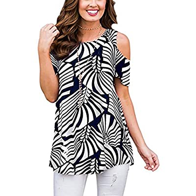 Womens Summer Cold Shoulder Shirts Short Sleeve Floral Printed Casual Loose Swing Tunic Blouse Tops: Clothing