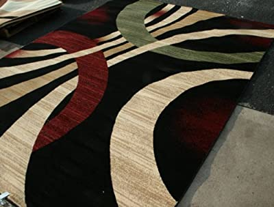 New City Brand New Contemporary Black Brown and Beige Modern Wavy Circles Area Rug