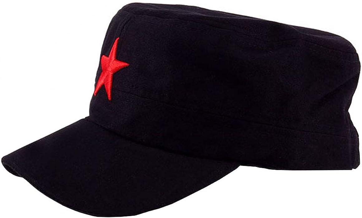 a7109557b4c Suyu Vintage Fatigue Red Star Army Hat Military Cap (Black) at ...