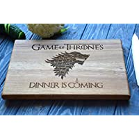 "Jon Snow Dinner Is Coming Cutting Board (7.8*11.8'') Or (9.8*13.8"") Game of Thrones Stark Family Wooden Custom Engraved Chopping Board Personalized Housewarming Gift For Couple Wedding Present Idea By Enjoy The Wood"