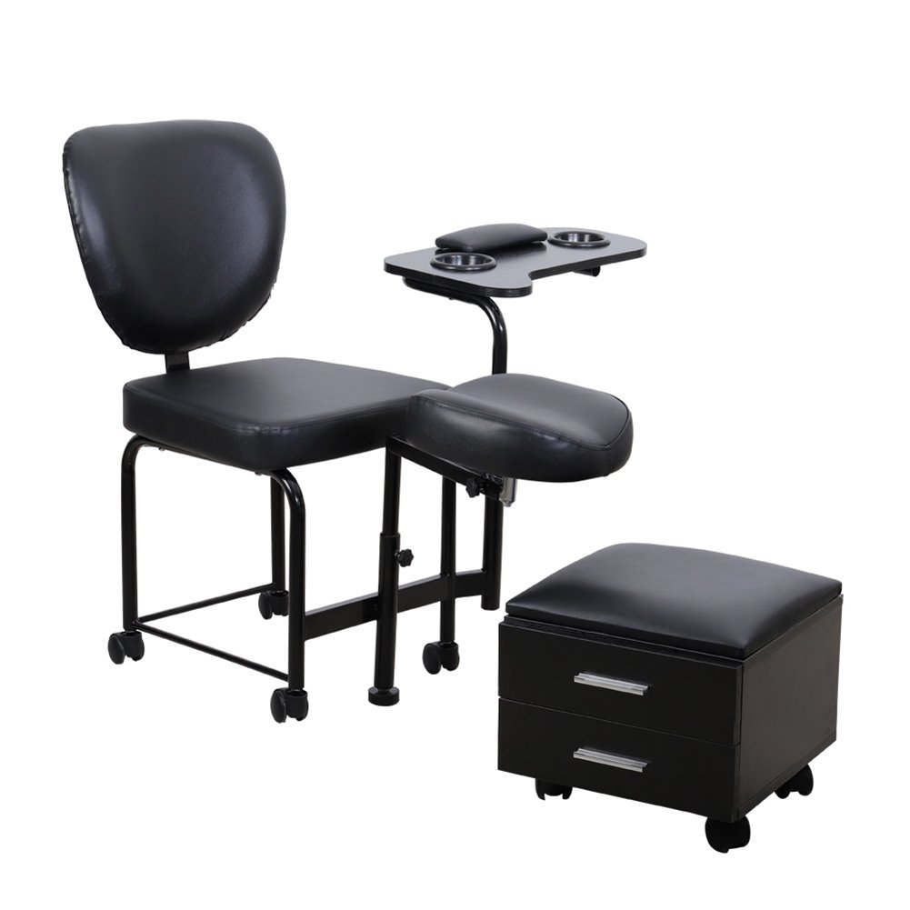 WarmieHomy Nail Table Manicure Pedicure Station Mobile Nail Beauty All-in-one Chair Spa Table Stool w/Wheels, Black