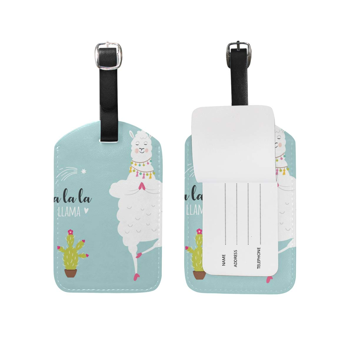 Travel Luggage Tag White Llama PU Leather Baggage Suitcase Travel ID Bag Tag 1Pcs
