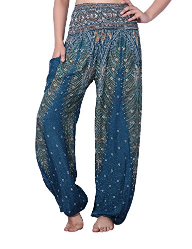 CHRLEISURE Women's Loose Harem Pants Boho Peacock Print High Waisted Yoga Pants - India Clothing