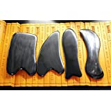 Genuine Natural Black Buffalo Horn GuaSha Scraping Massage Tools for Graston SPA Acupuncture Therapy Trigger Point Treatment set of 4 for Multiple-Use