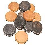 30 Crokinole Set Buttons - Discs   15 Dark- 15 Light Natural Wood