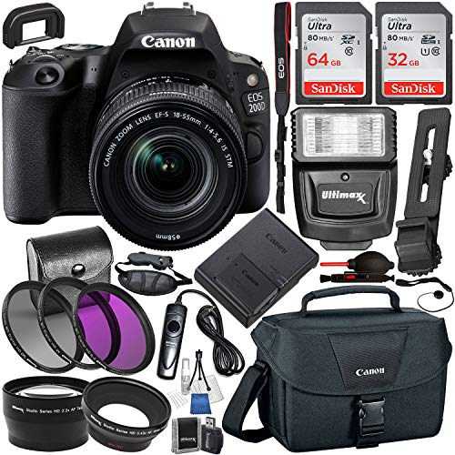 Canon EOS 200D (Rebel SL2) DSLR Camera & EF-S 18-55mm f/3.5-5.6 III Lens Kit with Essential Accessory Bundle – Includes: 96GB of SanDisk Ultra SD Storage, Slave Flash, Canon Carrying Case, Much More