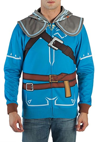 Bioworld Zelda Breath of The Wild Suit Up Costume Hoodie (X-Large) Blue -