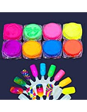 BeeShop(TM) 8PCS Nail Powder Neon Pigment Dust Ombre Glitter Gradient Iridescent Acrylic Art