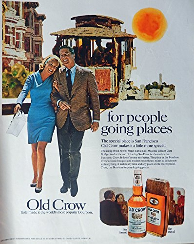 Old Crow Whiskey, 60's Print ad. Full Page Color Illustration (San Francisco-Powell Street Cable Car) Original Vintage 1969 Look Magazine Print - Powell Francisco Street San