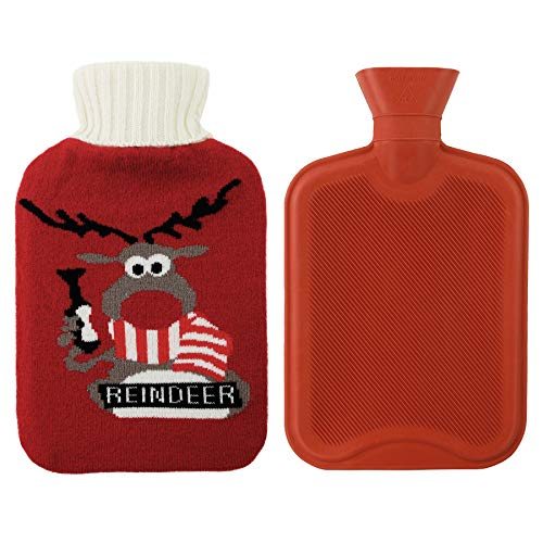 Athoinsu Premium Classical Rubber Hot Water Bottle 2 Liter with Cute Christmas Themed Knit Cover