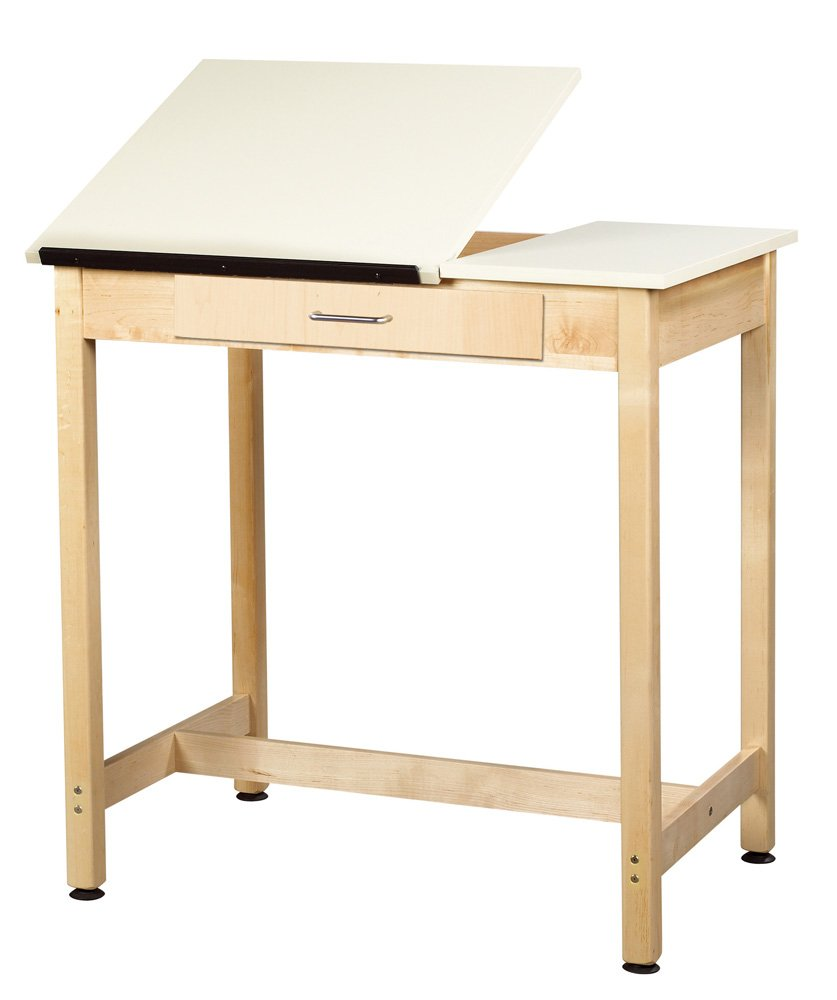 Diversified Woodcrafts DT-1SA37 UV Finish Solid Maple Wood Art Drafting Table with 2 Piece Top and Center Drawer, Plastic Laminate Top, 36 Width x 36 Height x 24 Depth