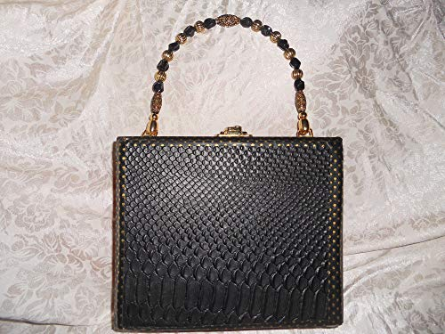(Cigarbox Purse, Black Croc Leather, Tina Marie Purse Purse, Vintage)
