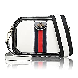 Women Genuine Leather Designer Shoulder Bag Camera Crossbody Bag Mini Bee Handbag White